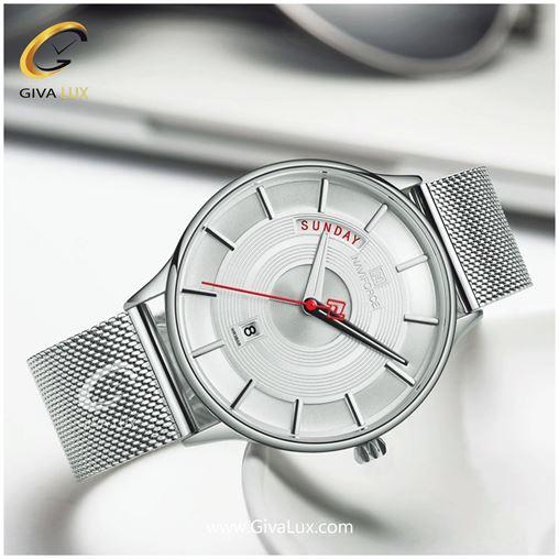ساعت مچی مردانه بند حصیری فلزی سورمه ای ناوی فورس مدل NF3007