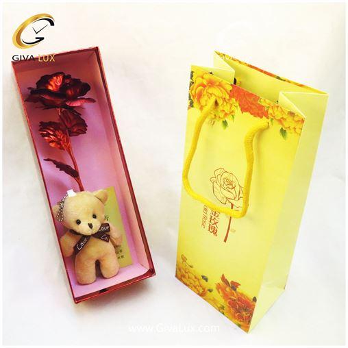 پک کادویی خرس و گل فلزی با جعبه و بگ