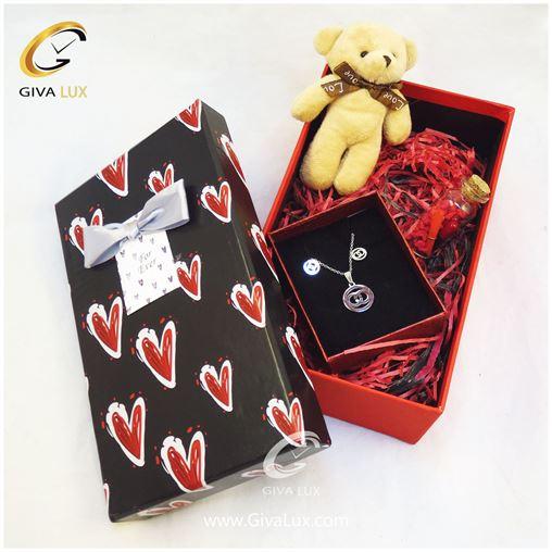 پک کادویی شامل قلب خرس کرم رنگ شیشه تزئینی جعبه نیم ست دخترانه
