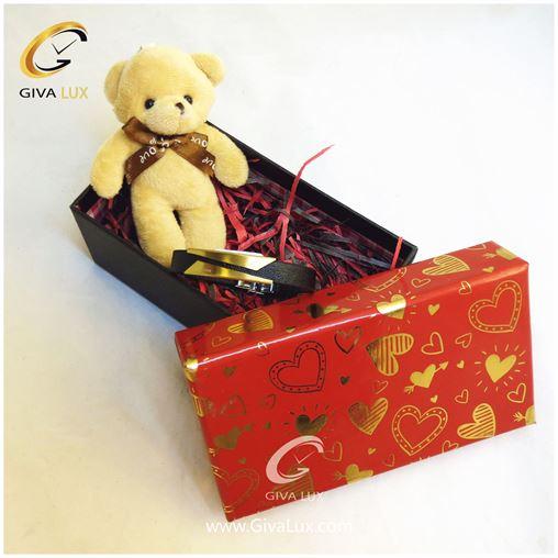 پک کادویی شامل خرس کرم رنگ جعبه دستبند اسپرت