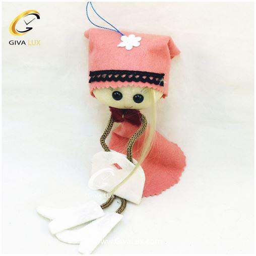 عروسک دخترانه لباس صورتی 26 سانتی متری